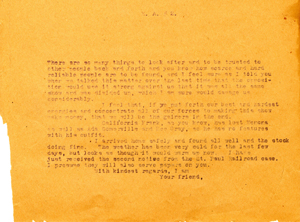 Miller Brothers letter regarding Bee Ho Gray